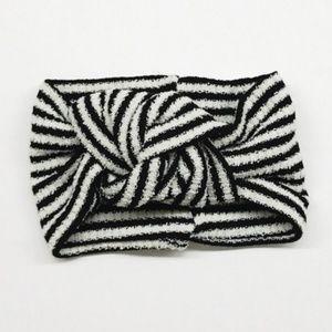 Twist Knot Headband in Black & White Stripe